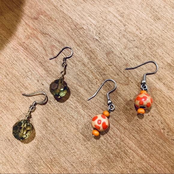 Jewelry - Green & Red/Orange Earrings